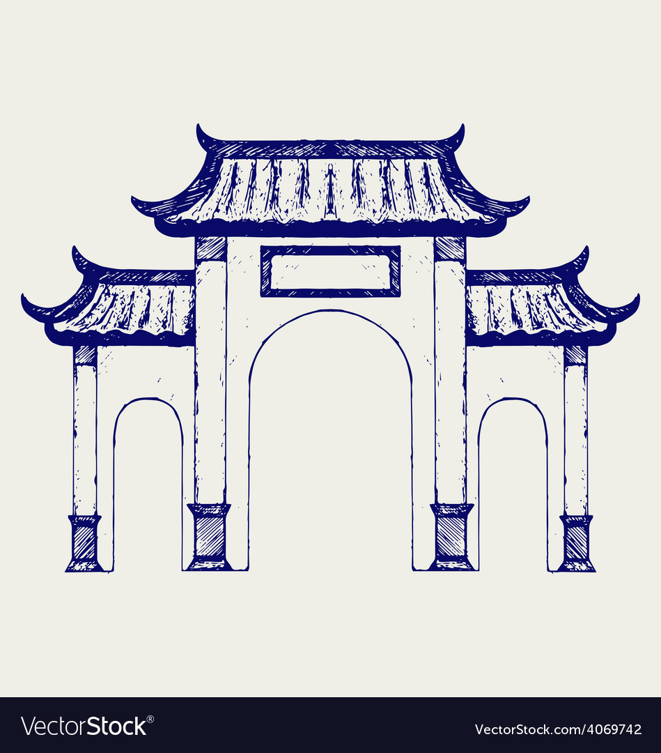 Ancient chinese gate vector | Price: 1 Credit (USD $1)