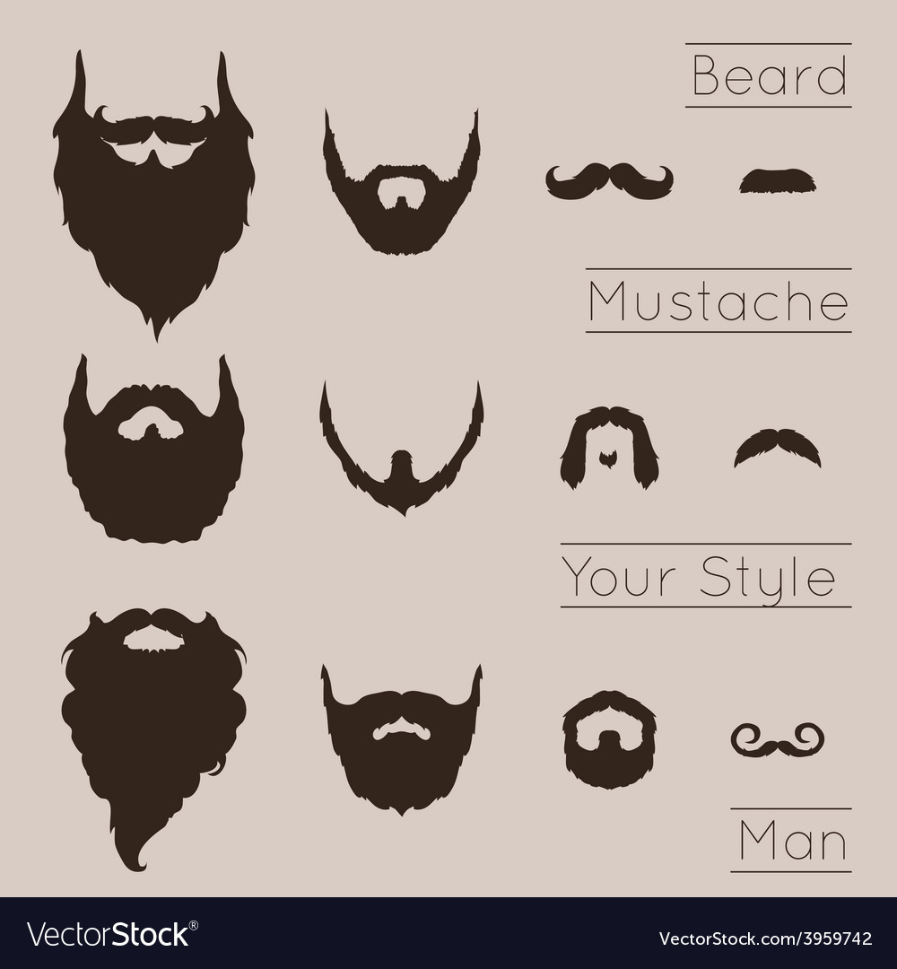 Beards and mustaches set vector | Price: 1 Credit (USD $1)