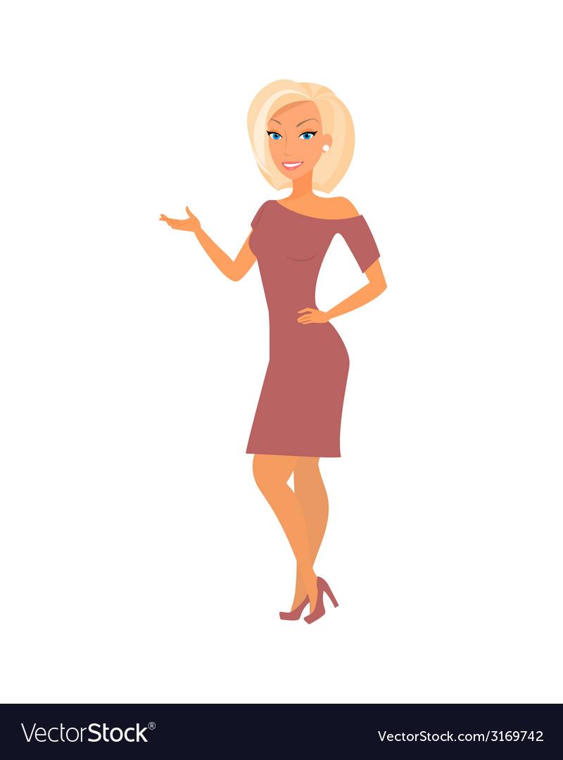 Blonde woman wearing dress vector | Price: 1 Credit (USD $1)