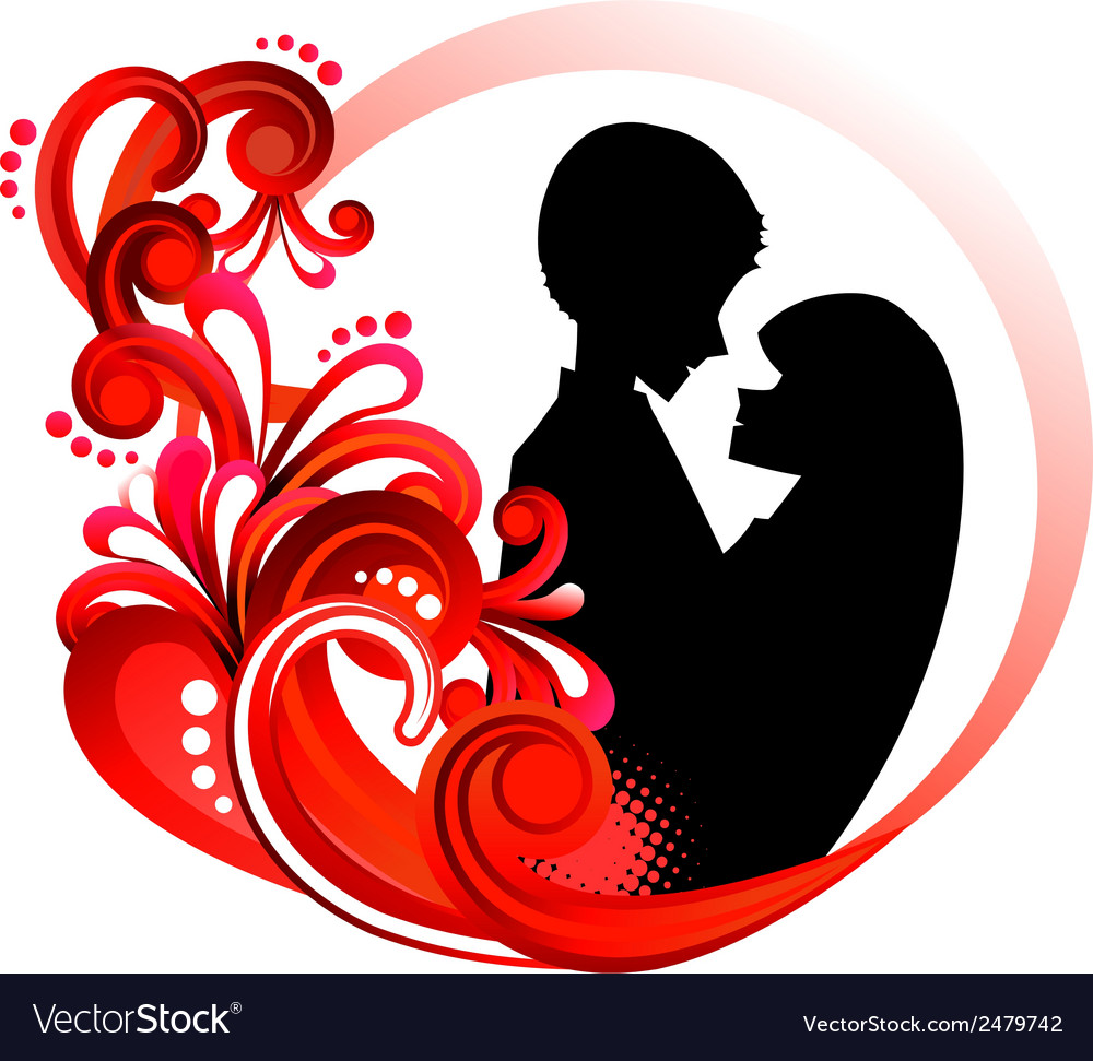 Couple in red floral frame vector | Price: 1 Credit (USD $1)