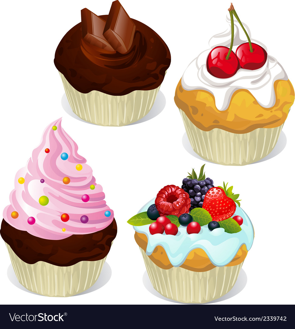 Cupcakes and muffins different flavors and colors vector | Price: 1 Credit (USD $1)