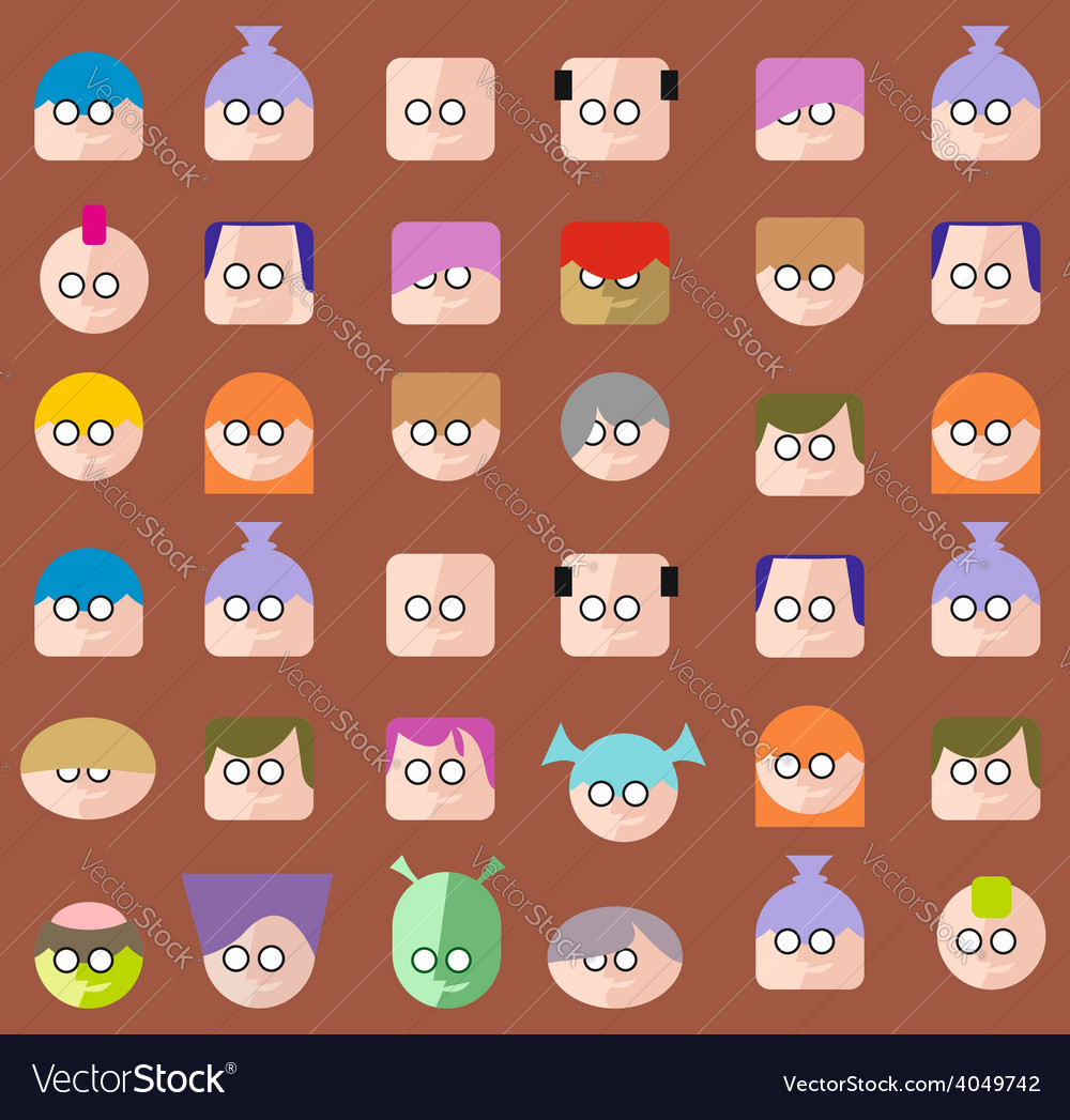 Faces circle icons set vector | Price: 1 Credit (USD $1)