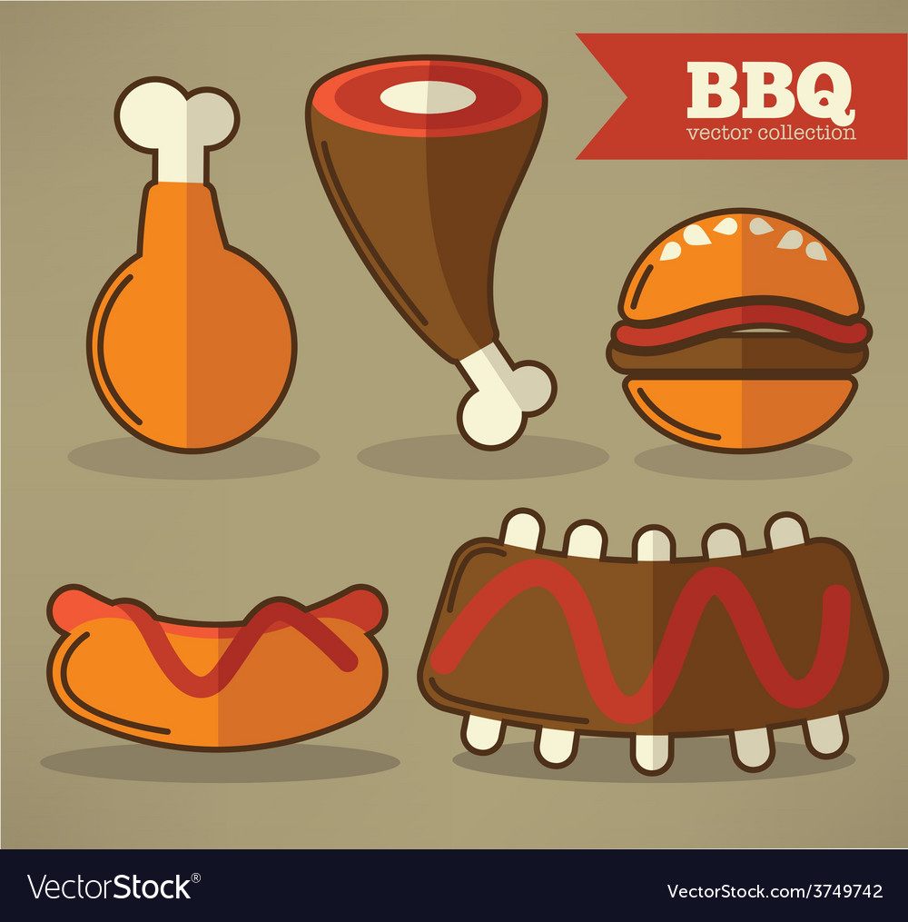 Flat bbq collection vector | Price: 1 Credit (USD $1)