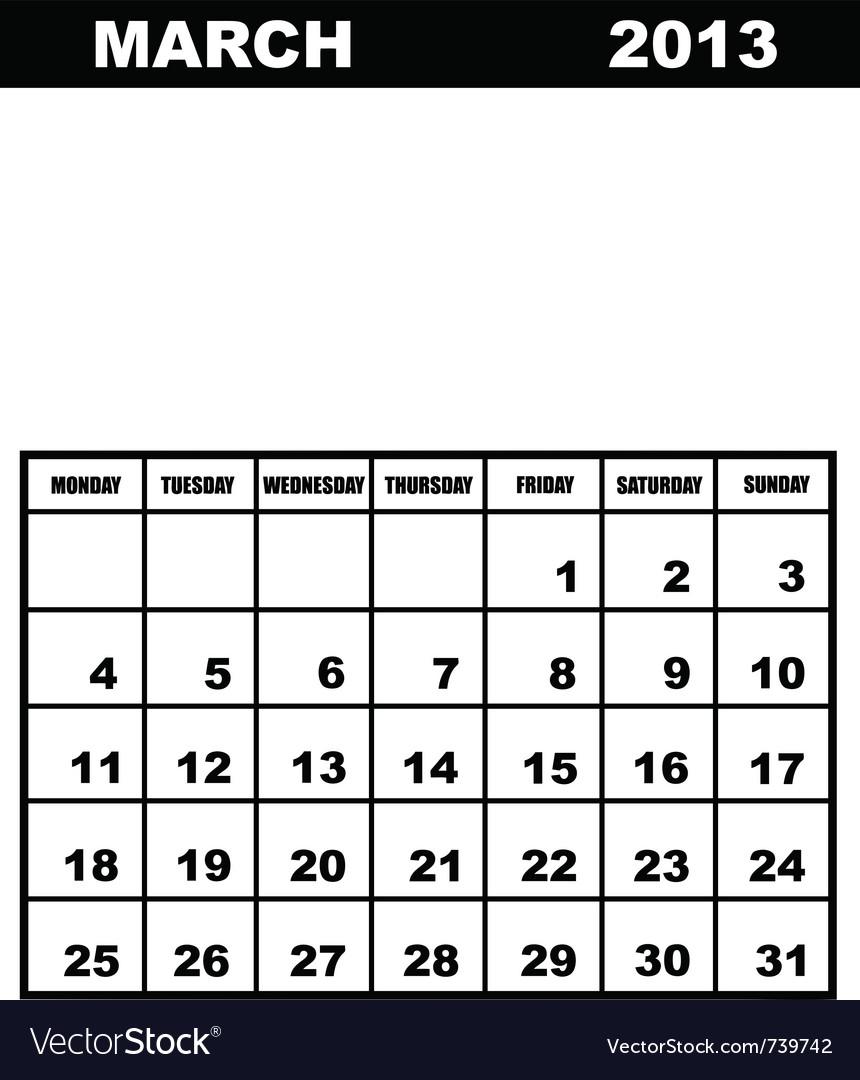 March calendar 2013 vector | Price: 1 Credit (USD $1)