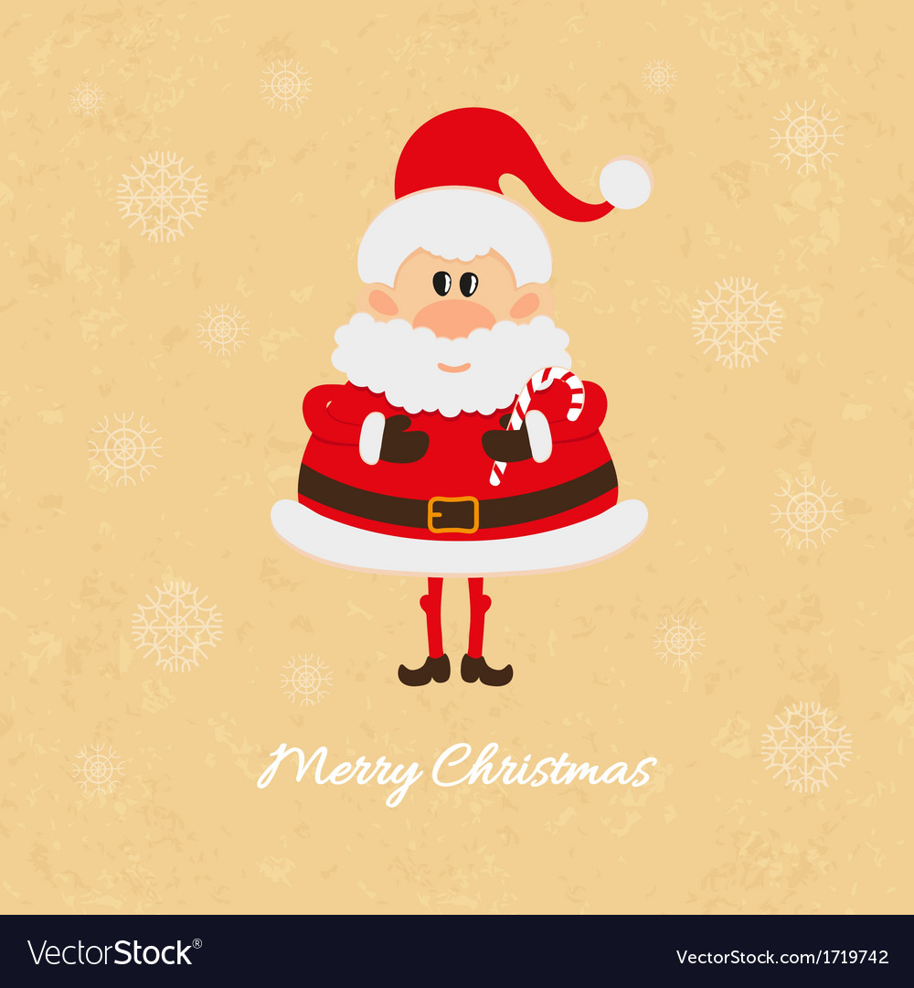 Santa claus with christmas candy cane card vector | Price: 1 Credit (USD $1)