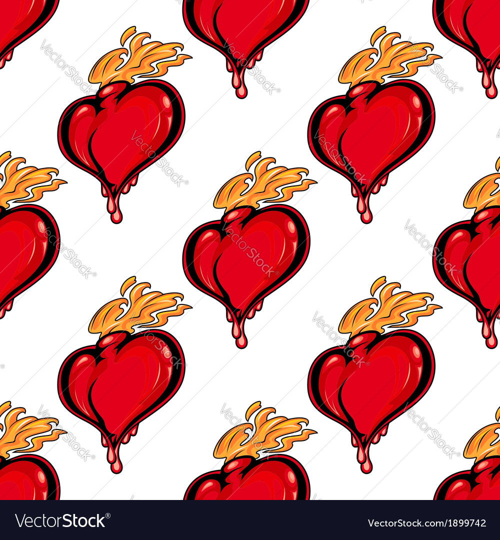 Seamless pattern with hearts on fire vector | Price: 1 Credit (USD $1)