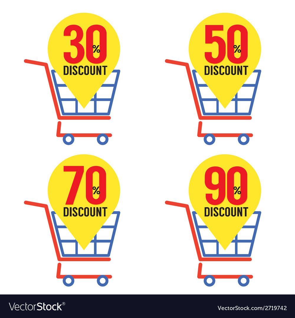 Set of shopping basket discount vector | Price: 1 Credit (USD $1)