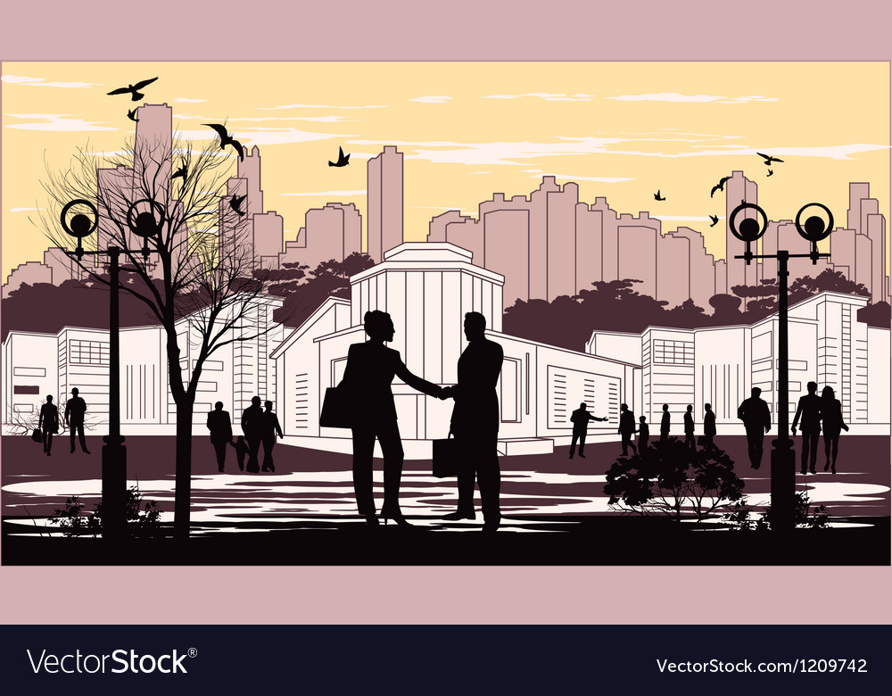 Silhouettes of people on city background with vector | Price: 1 Credit (USD $1)