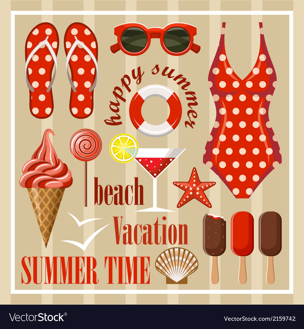 Summer beach set vector | Price: 3 Credit (USD $3)