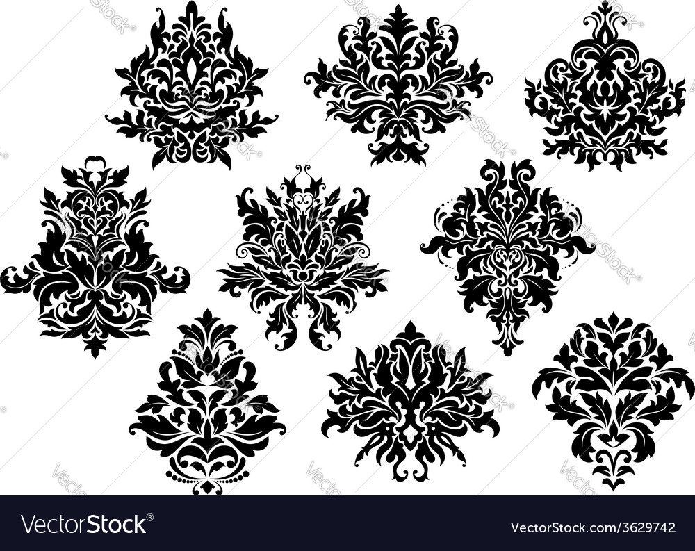 Vintage floral elements and motifs vector | Price: 1 Credit (USD $1)