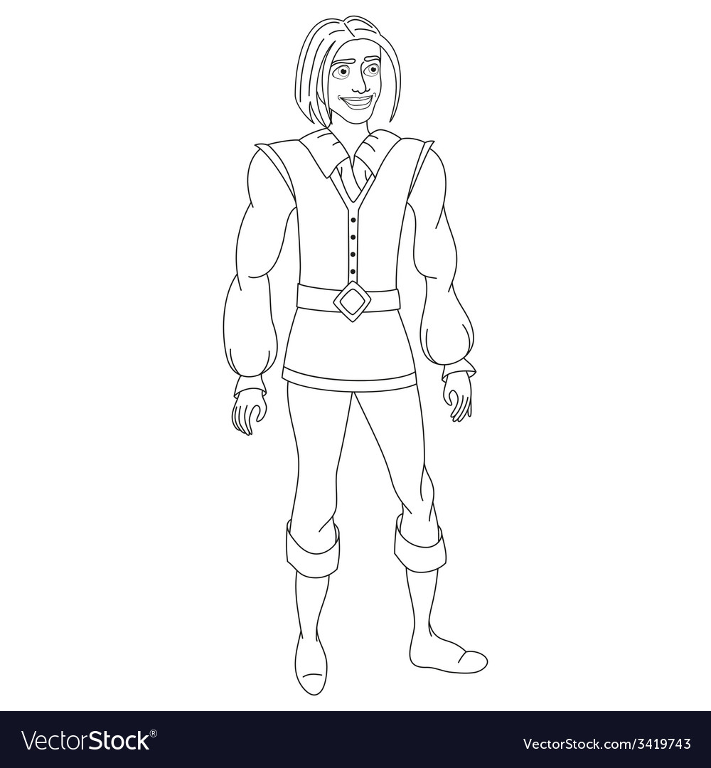 Brave prince coloring book page vector | Price: 1 Credit (USD $1)