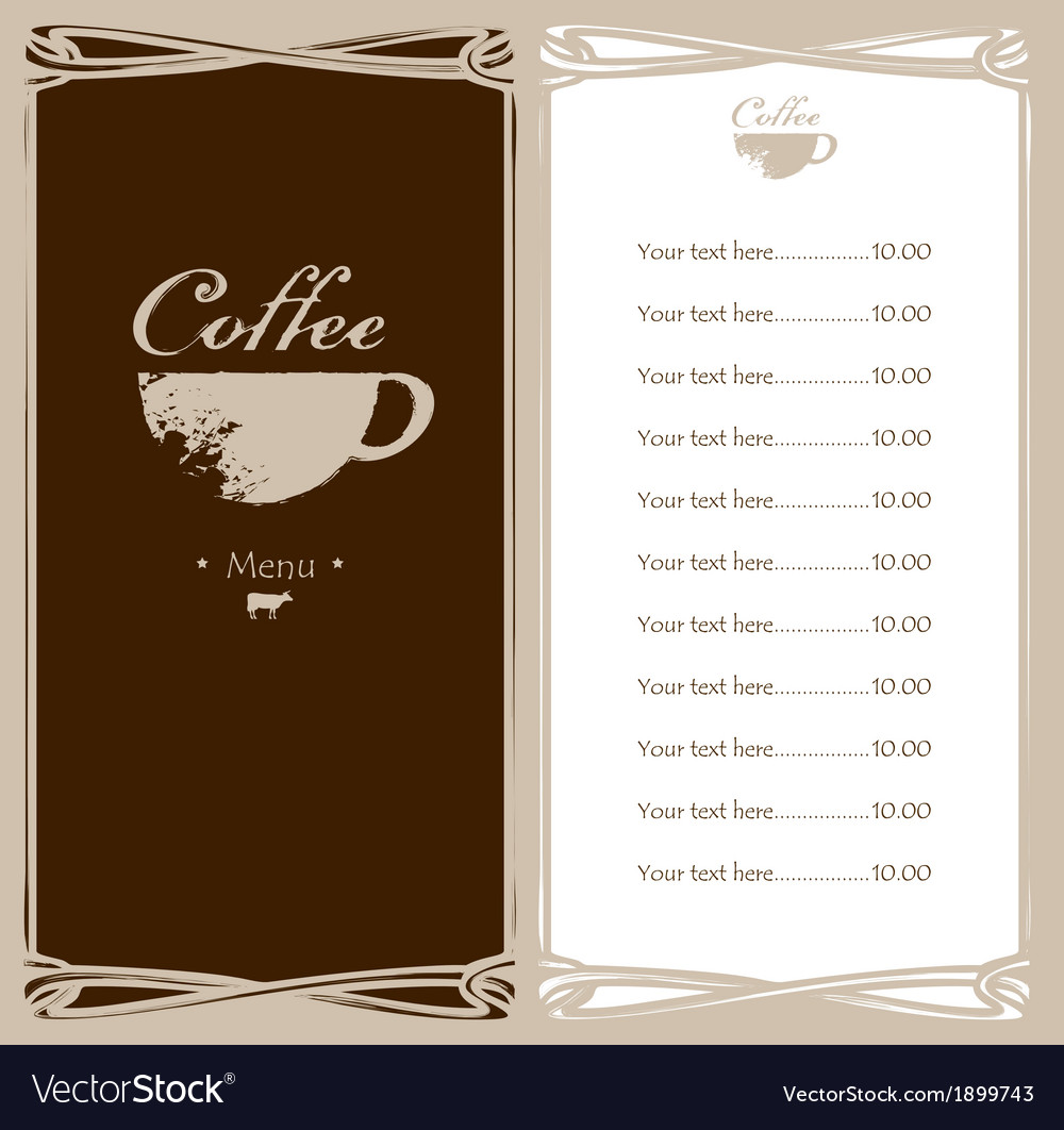 Coffee menu vector | Price: 1 Credit (USD $1)