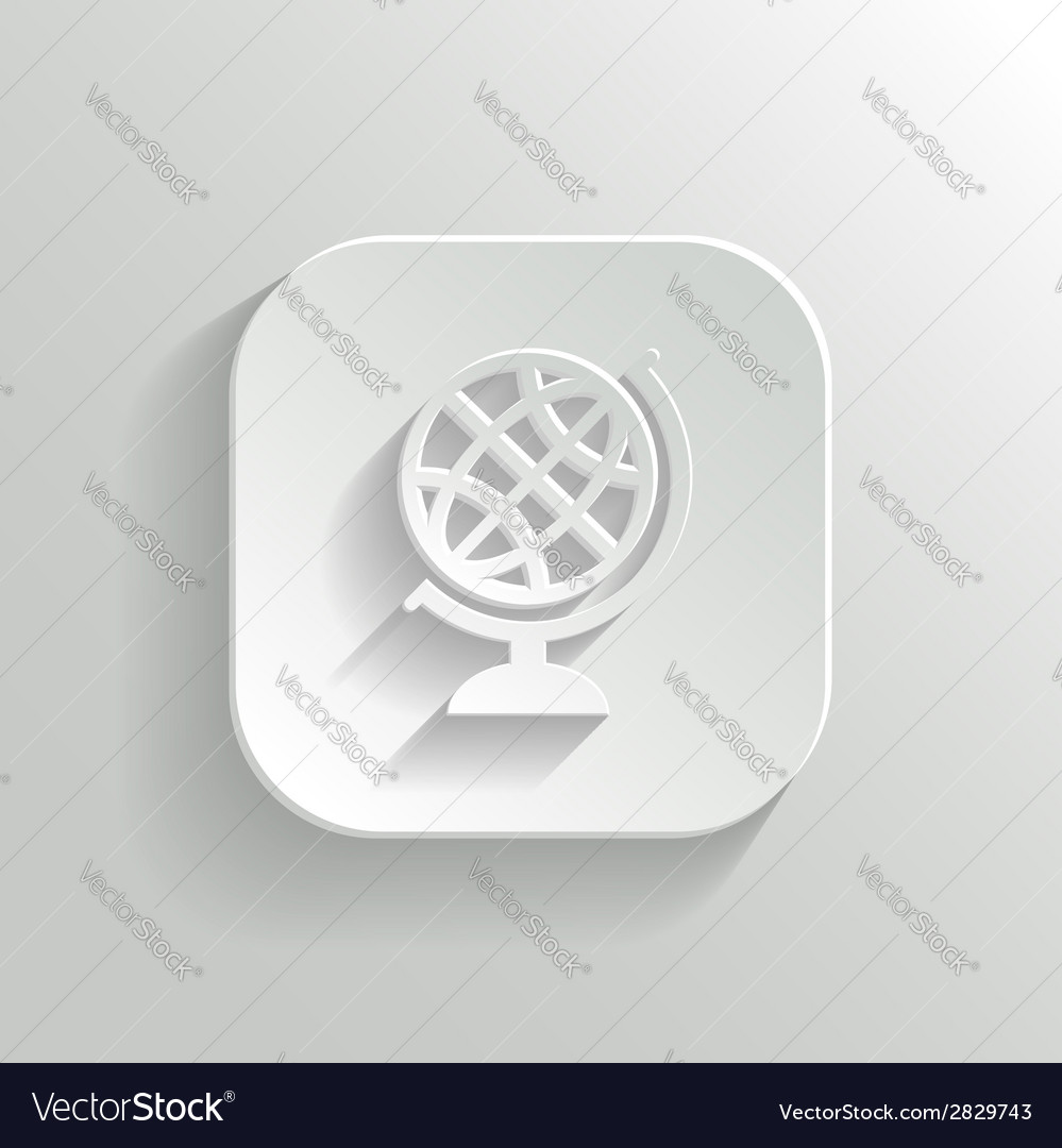 Globe icon - white app button vector | Price: 1 Credit (USD $1)