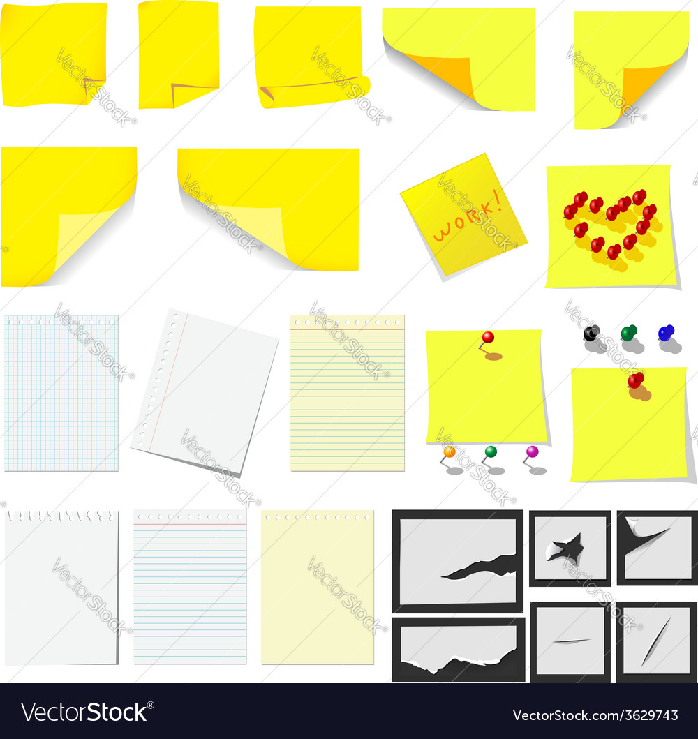 Office sticky notes and turned paper vector | Price: 1 Credit (USD $1)