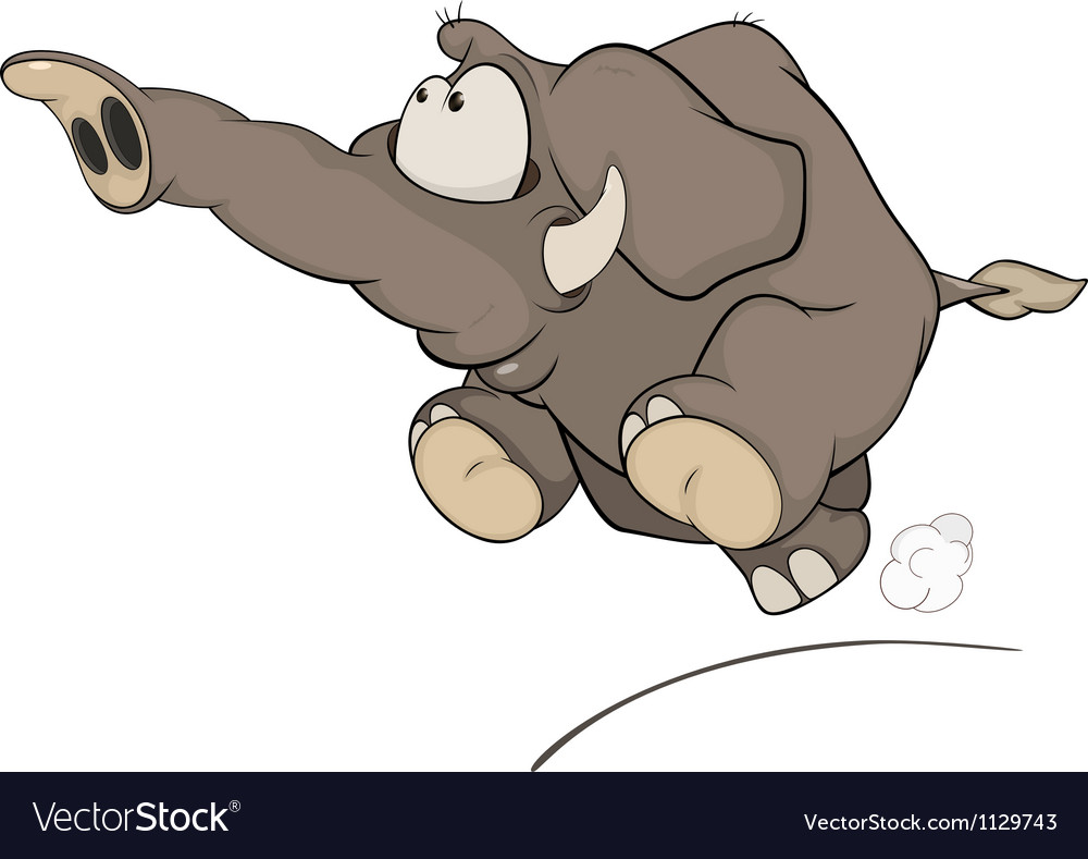 The running elephant calf cartoon vector | Price: 1 Credit (USD $1)