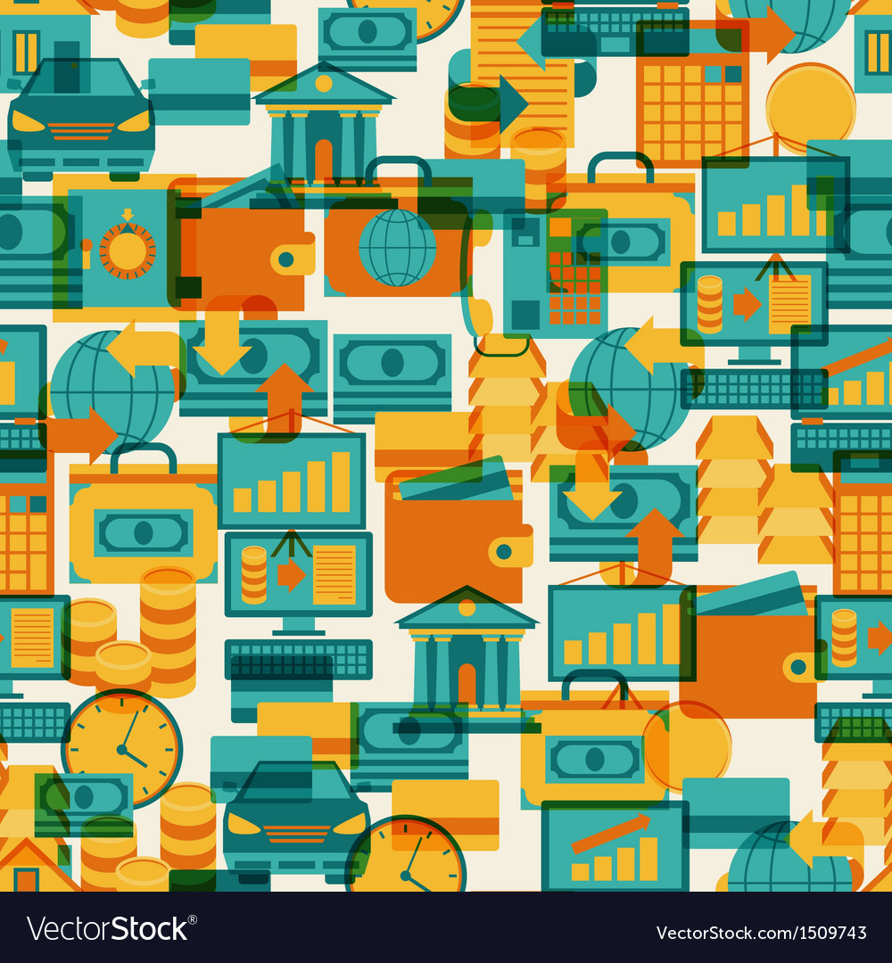 Seamless pattern of banking icons vector | Price: 1 Credit (USD $1)