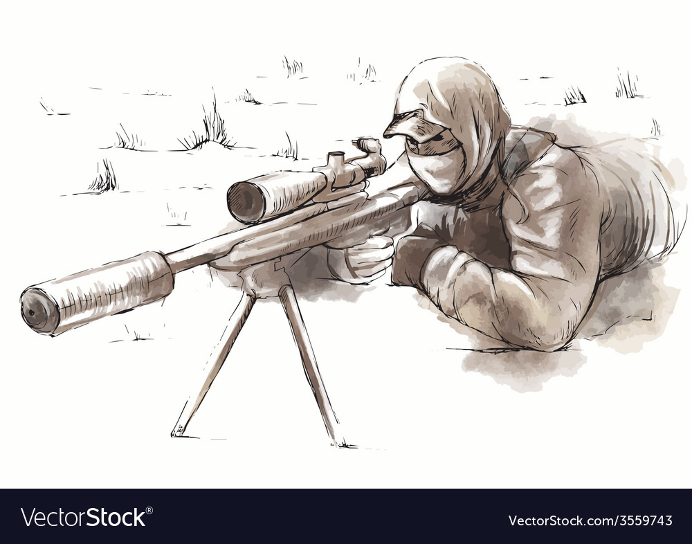 Sniper shooter - hand drawn vector | Price: 3 Credit (USD $3)