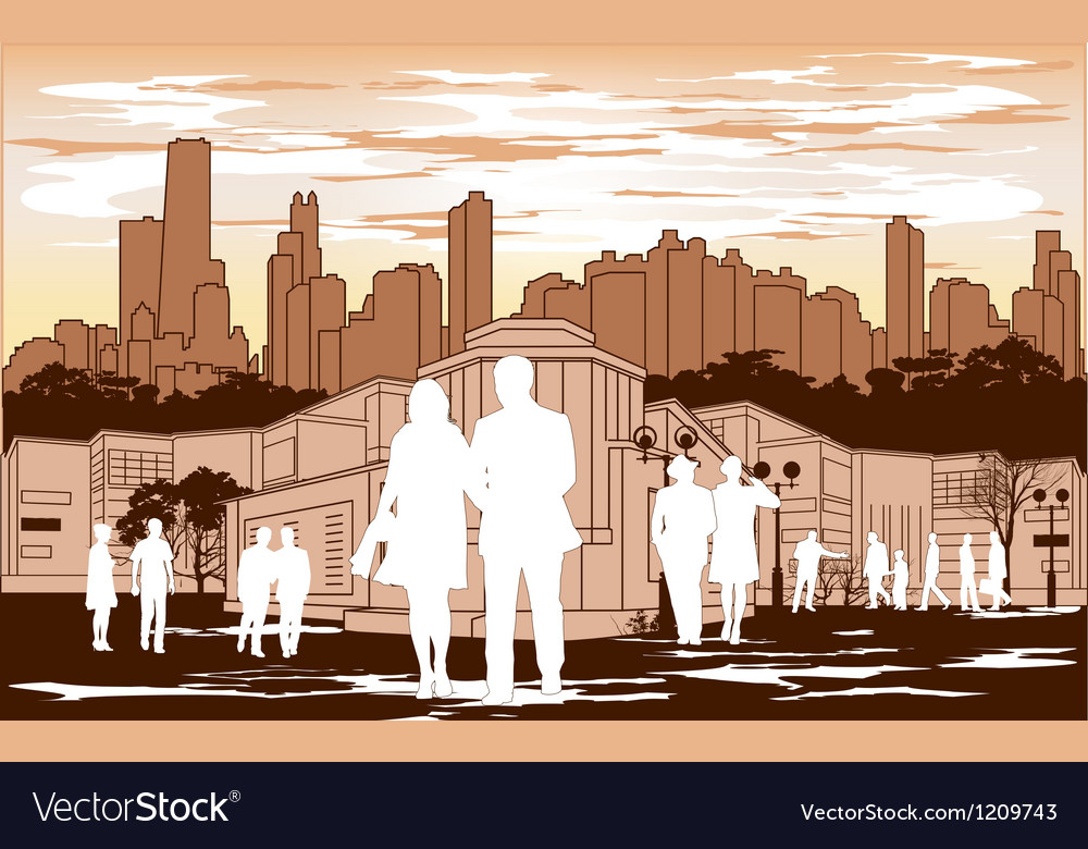 White people silhouette on red city background vector | Price: 1 Credit (USD $1)