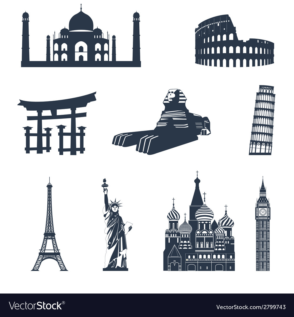 World famous landmarks black vector | Price: 1 Credit (USD $1)