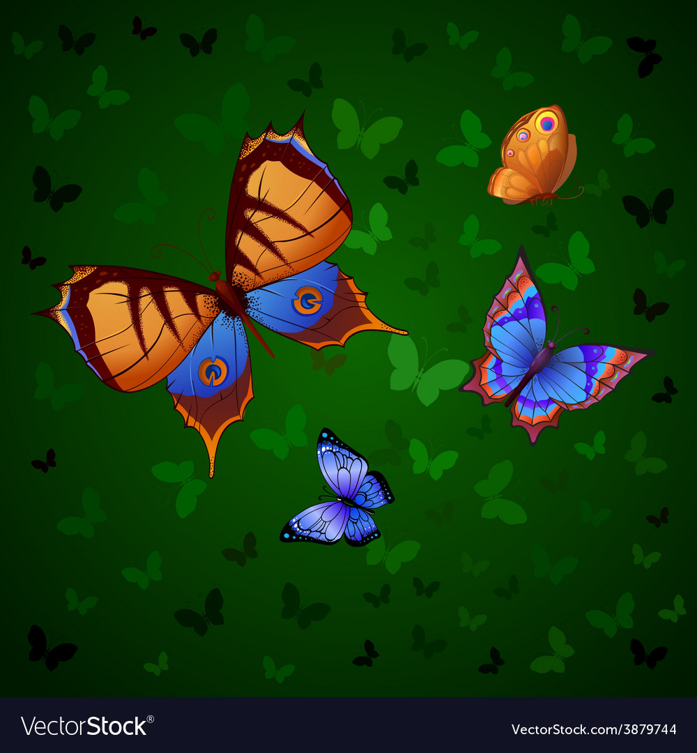 Background of colorful butterflies flying vector | Price: 1 Credit (USD $1)