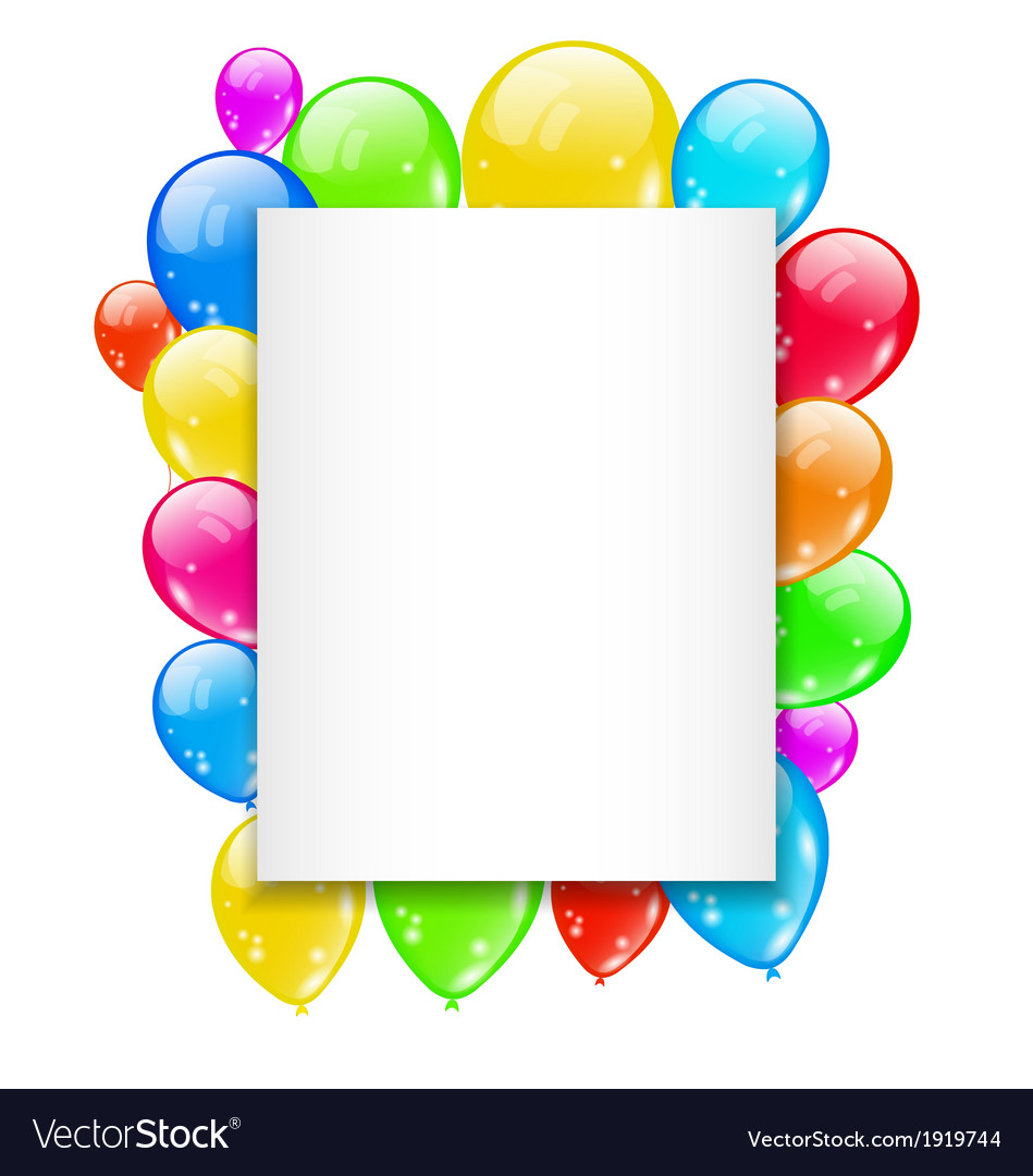 Birthday card with colorful balloons with space vector | Price: 1 Credit (USD $1)