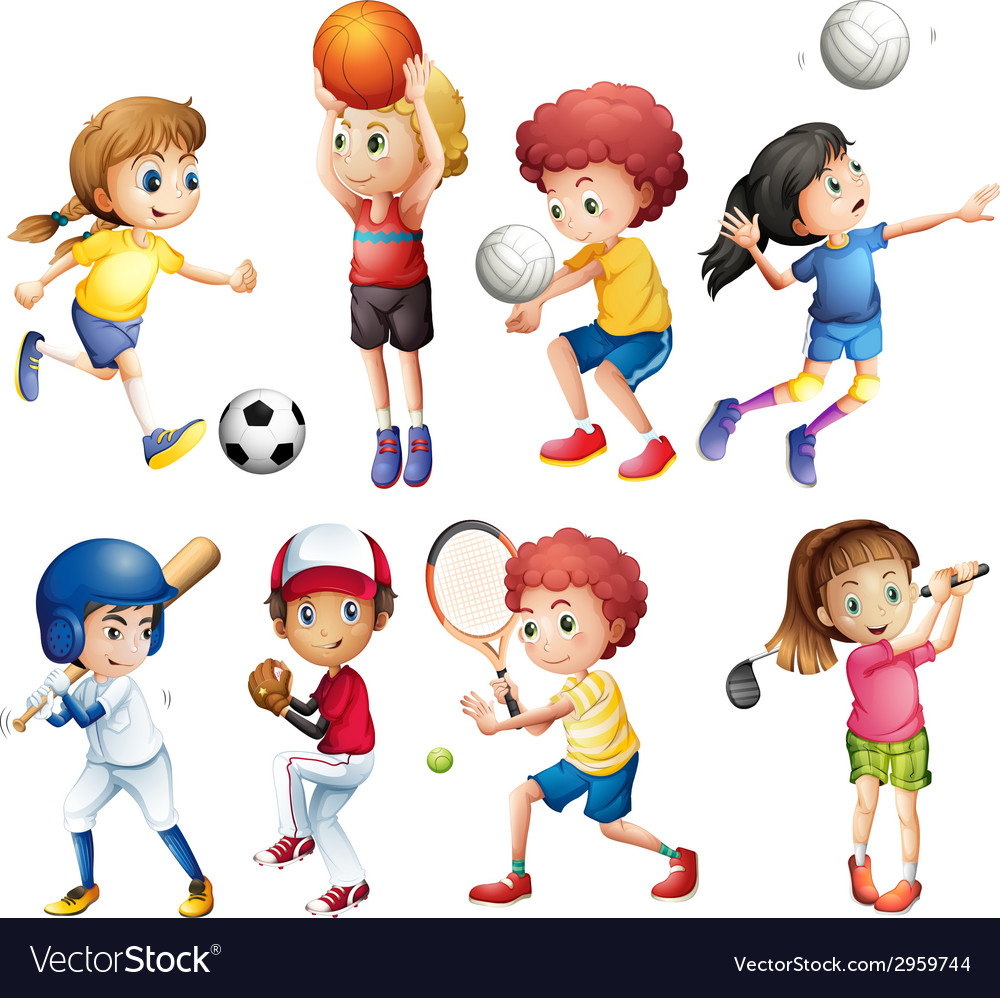 Children and sports vector | Price: 1 Credit (USD $1)