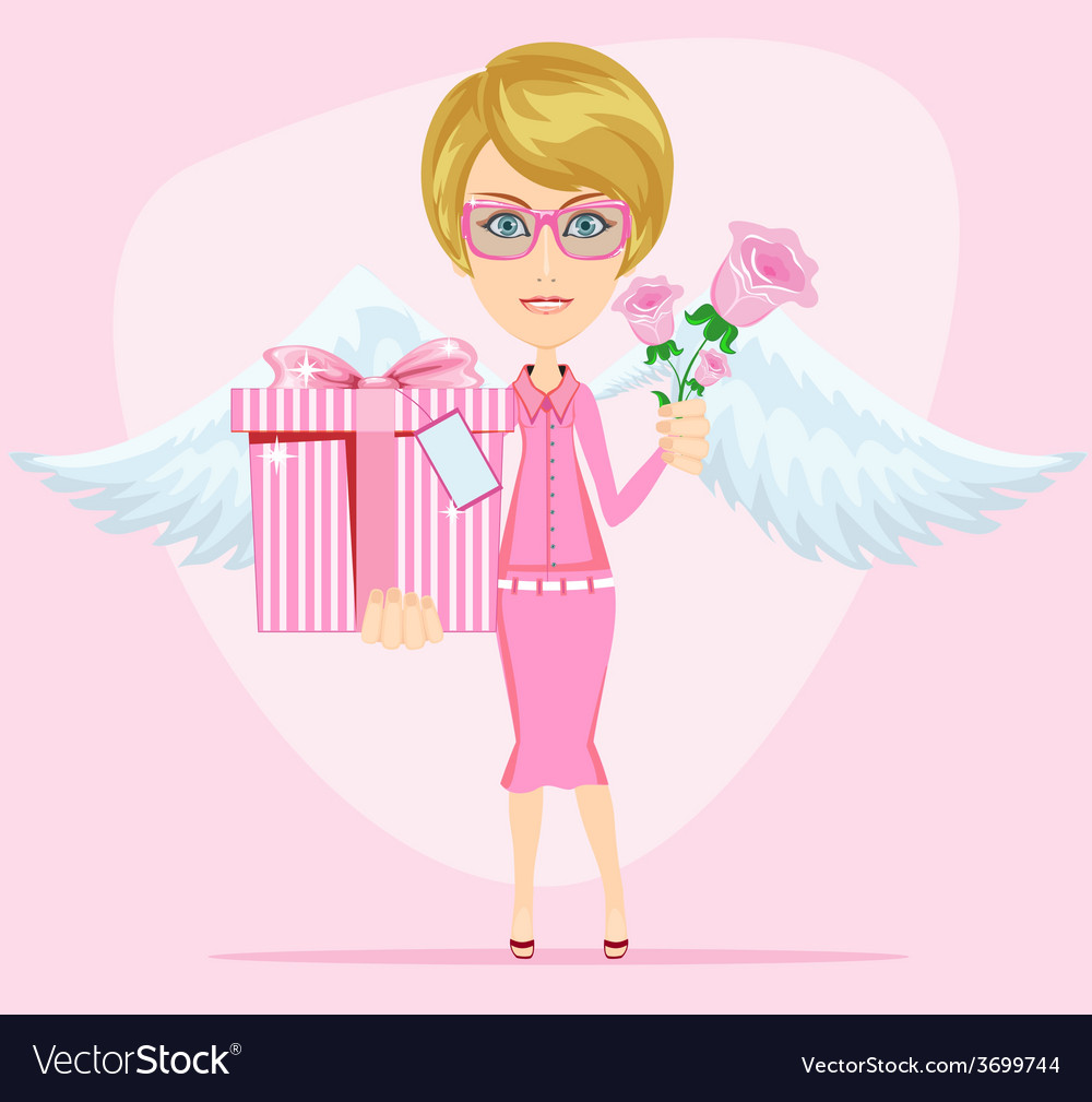 Girl in pink gives flowers and gift vector | Price: 1 Credit (USD $1)