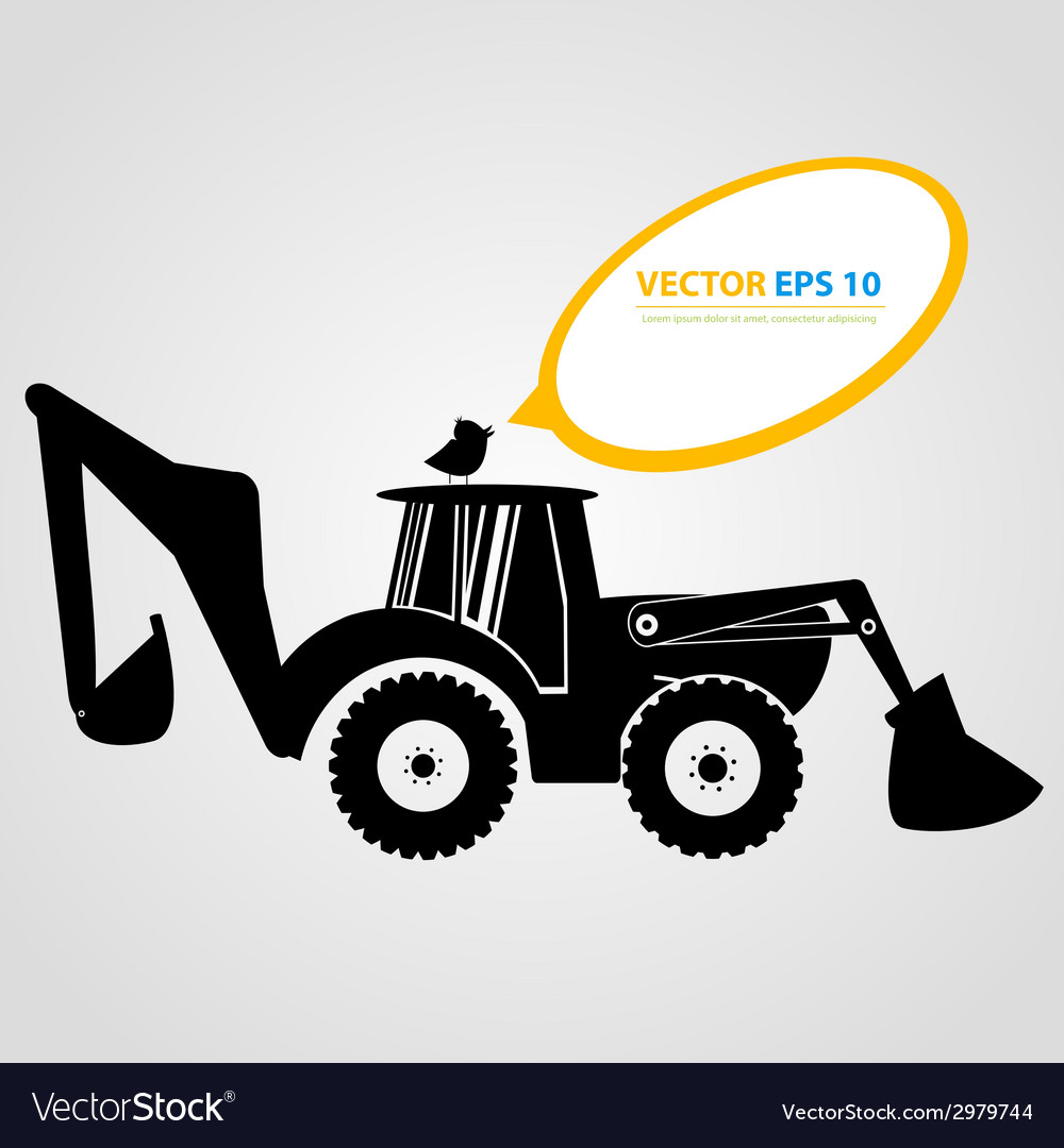 Isolated tractor icons silhouettes vector | Price: 1 Credit (USD $1)