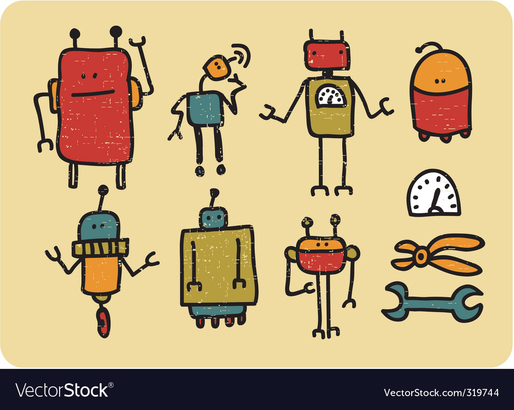 Retro robots vector | Price: 1 Credit (USD $1)