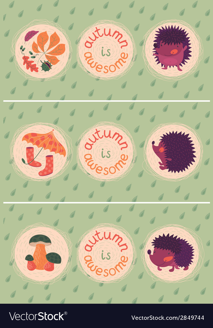 Set of autumn cards with hedgehogs vector | Price: 1 Credit (USD $1)