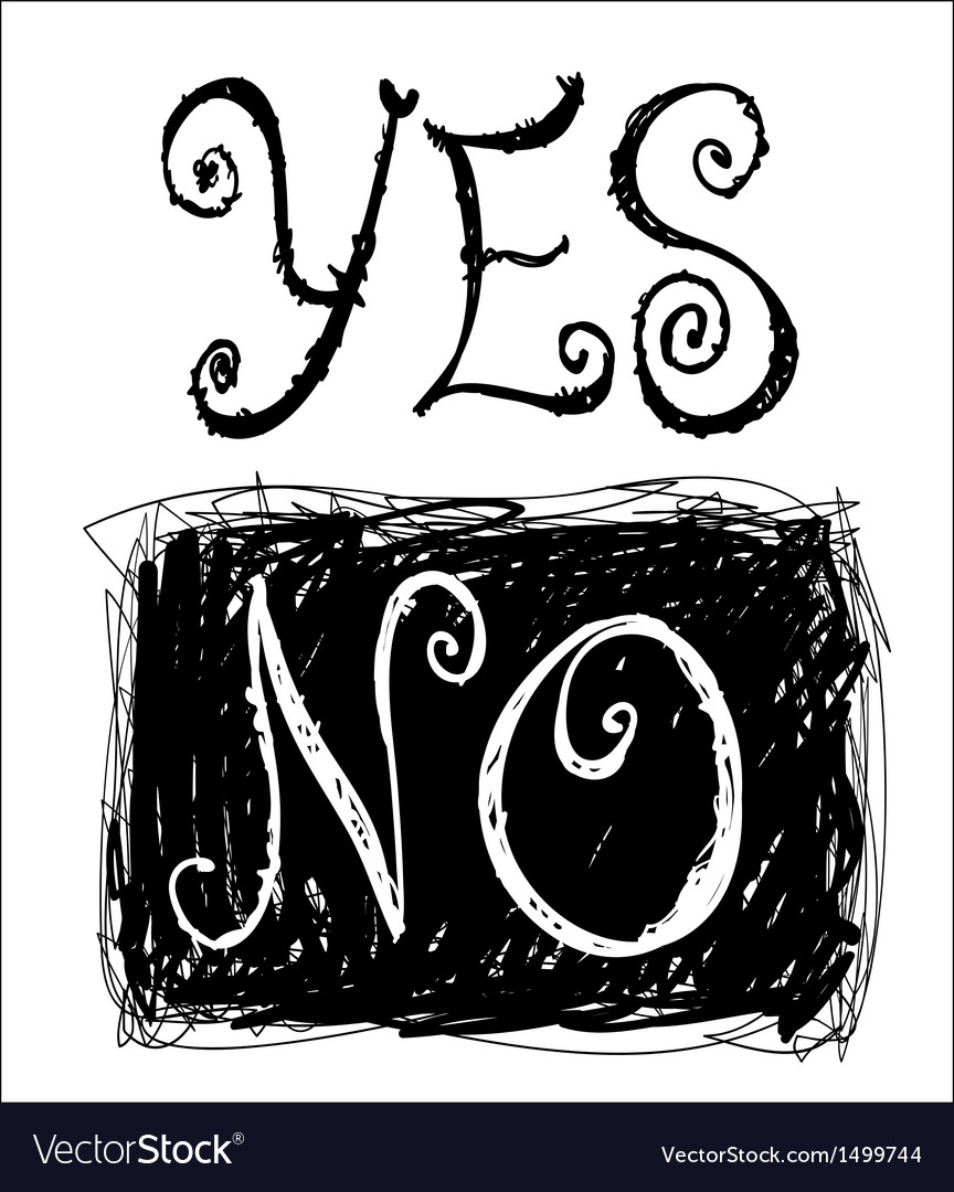 Sketchy words yes and no vector | Price: 1 Credit (USD $1)