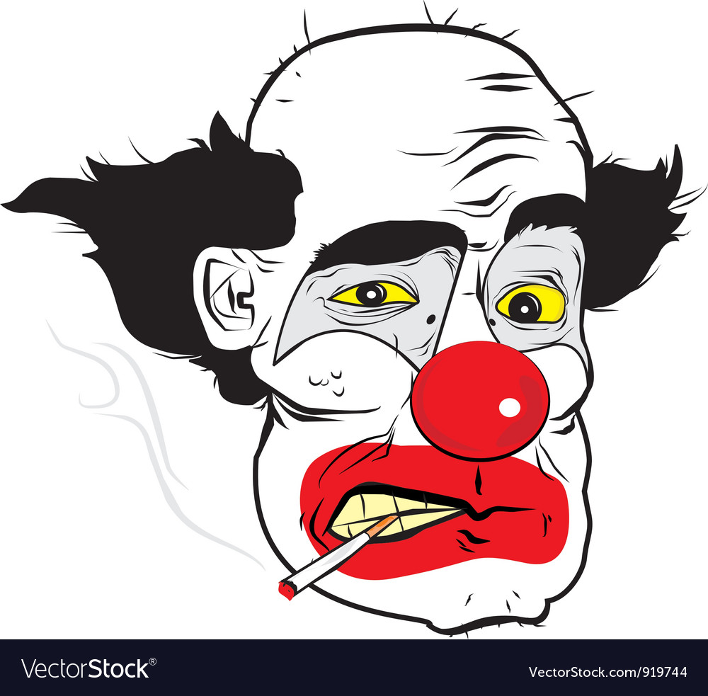 Smoking clown preview vector | Price: 3 Credit (USD $3)