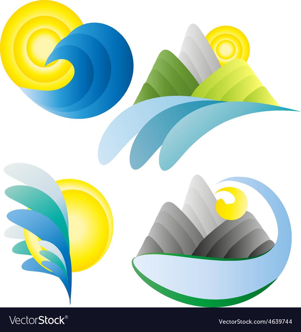 Sun sea mountains summer holidays logos vector | Price: 1 Credit (USD $1)