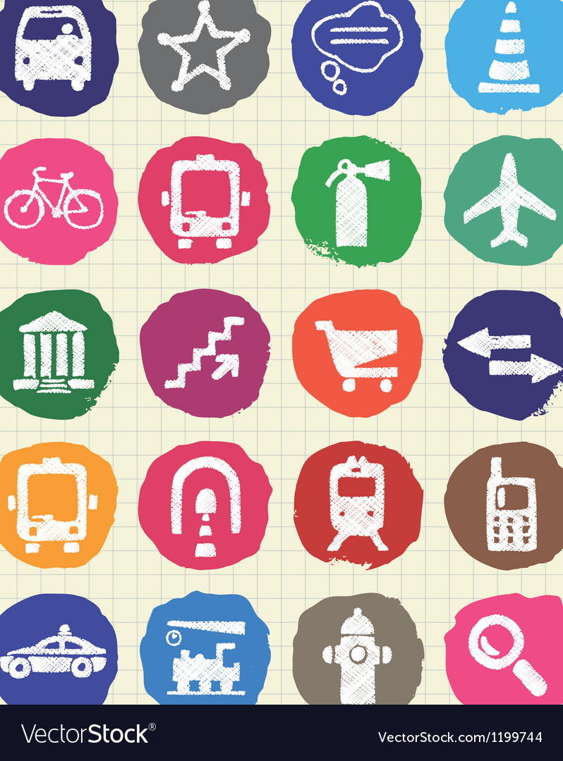Transport and road signs urban web icons set vector   Price: 1 Credit (USD $1)