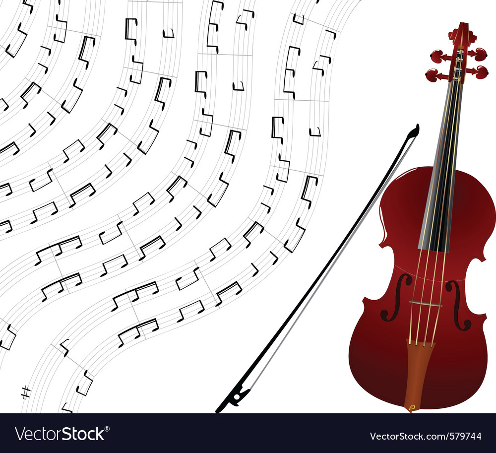 Violin and musical notes vector | Price: 1 Credit (USD $1)