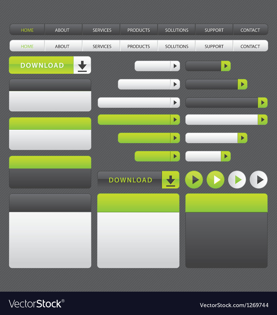 Website buttons template green and grey vector | Price: 1 Credit (USD $1)