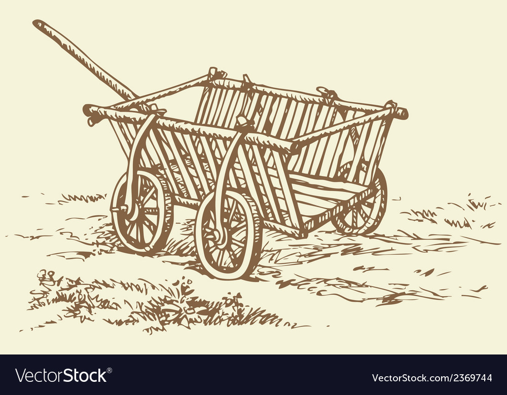 Wooden empty cart vector | Price: 1 Credit (USD $1)