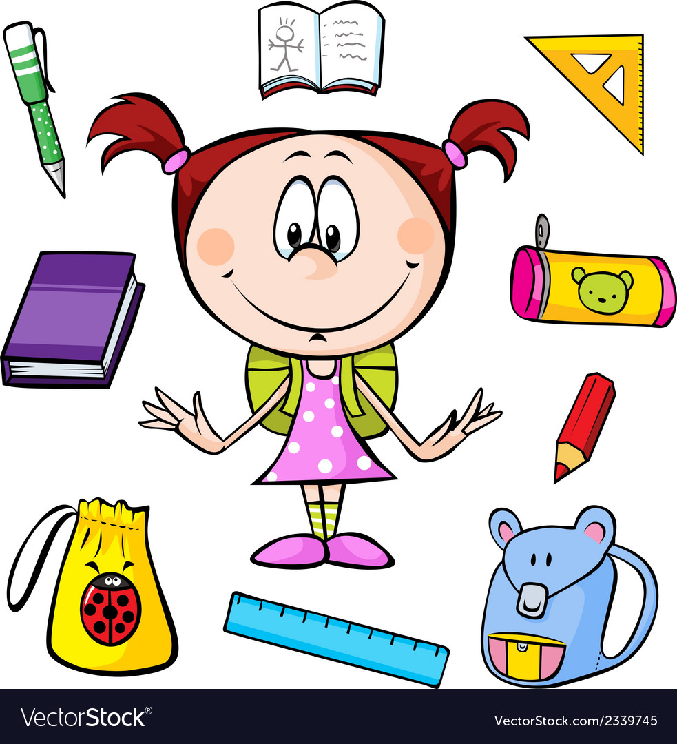 A girl with school supplies vector | Price: 1 Credit (USD $1)