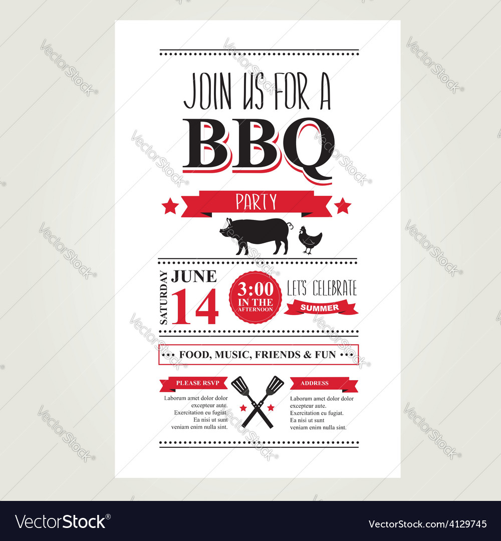 Barbecue party invitation bbq brochure menu design vector | Price: 1 Credit (USD $1)