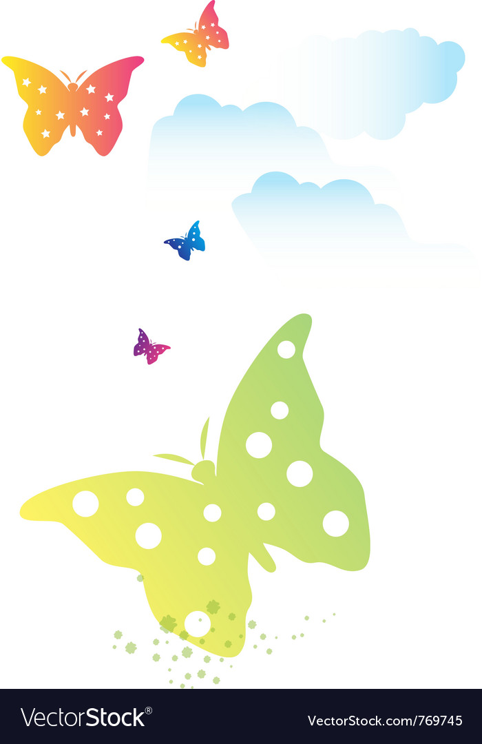 Butterflies swarm and clouds vector | Price: 1 Credit (USD $1)