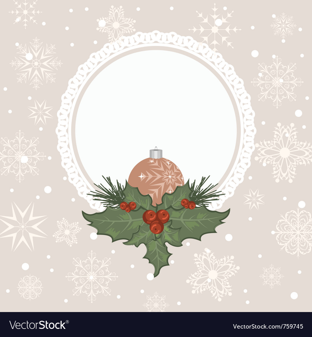 Christmas card with branch and ball - vector | Price: 1 Credit (USD $1)