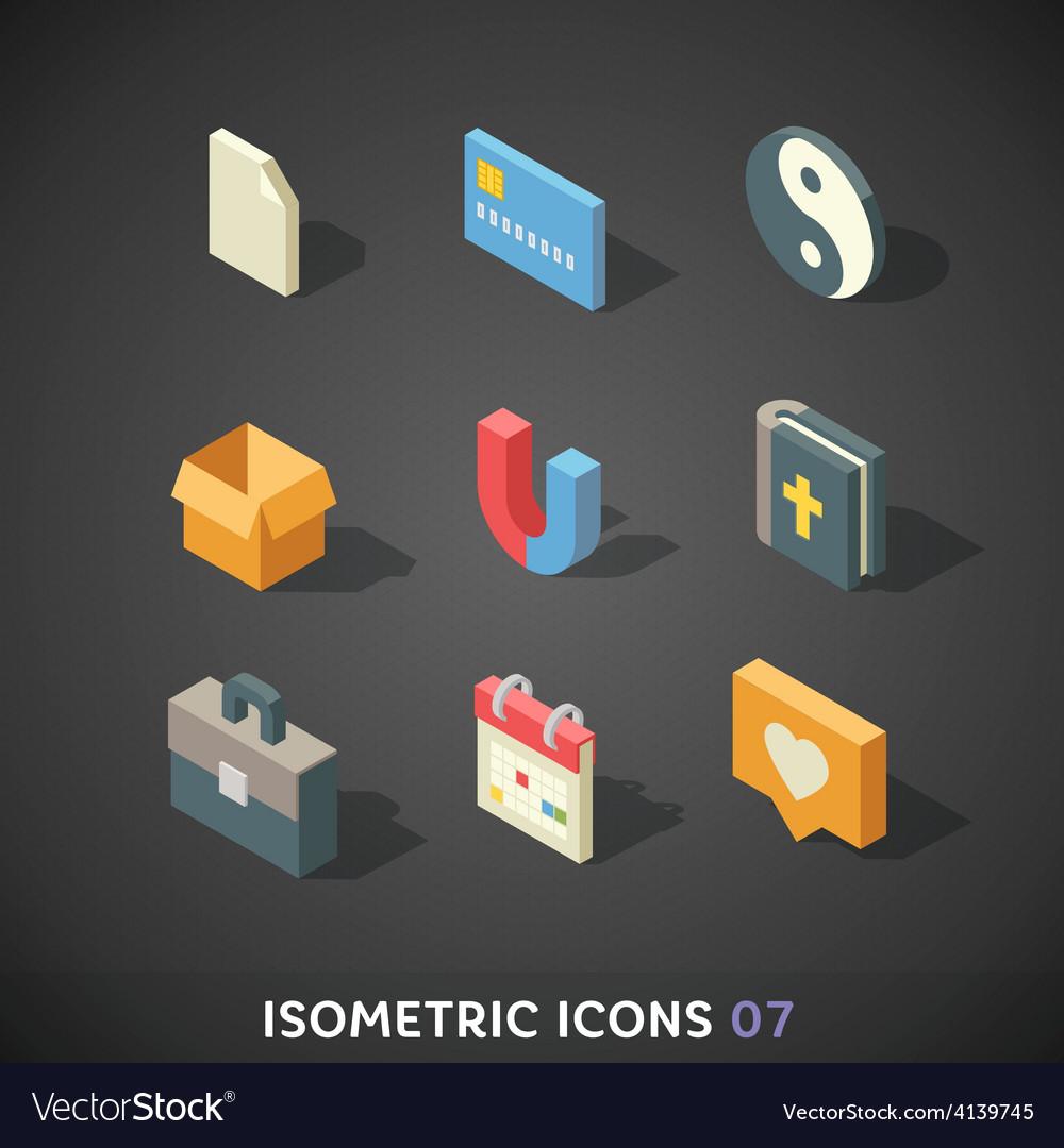 Flat isometric icons set 7 vector   Price: 3 Credit (USD $3)