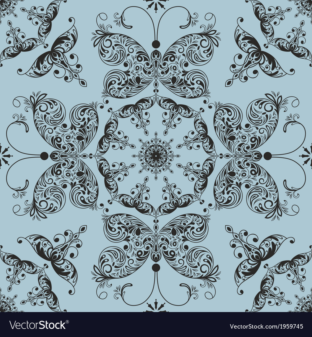 Floral seamless spring pattern with butterflies vector | Price: 1 Credit (USD $1)
