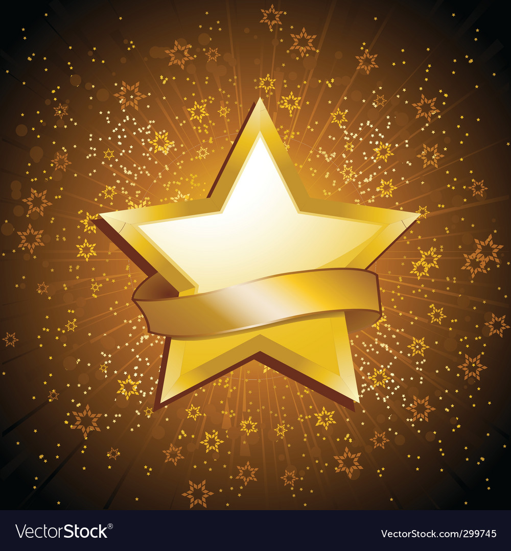 Gold celebration star and banner vector | Price: 1 Credit (USD $1)