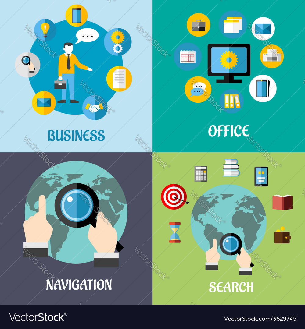 Navigation search and business flat concepts vector | Price: 1 Credit (USD $1)