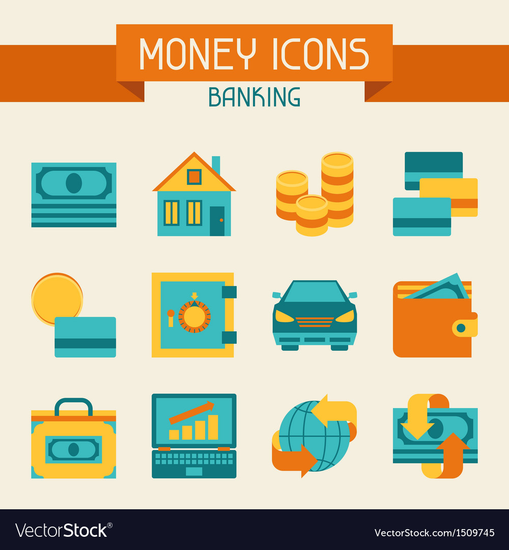 Set of money and banking icons vector | Price: 1 Credit (USD $1)