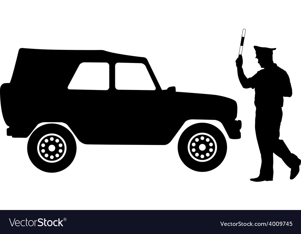 Silhouette police stopped a car with a rod vector | Price: 1 Credit (USD $1)