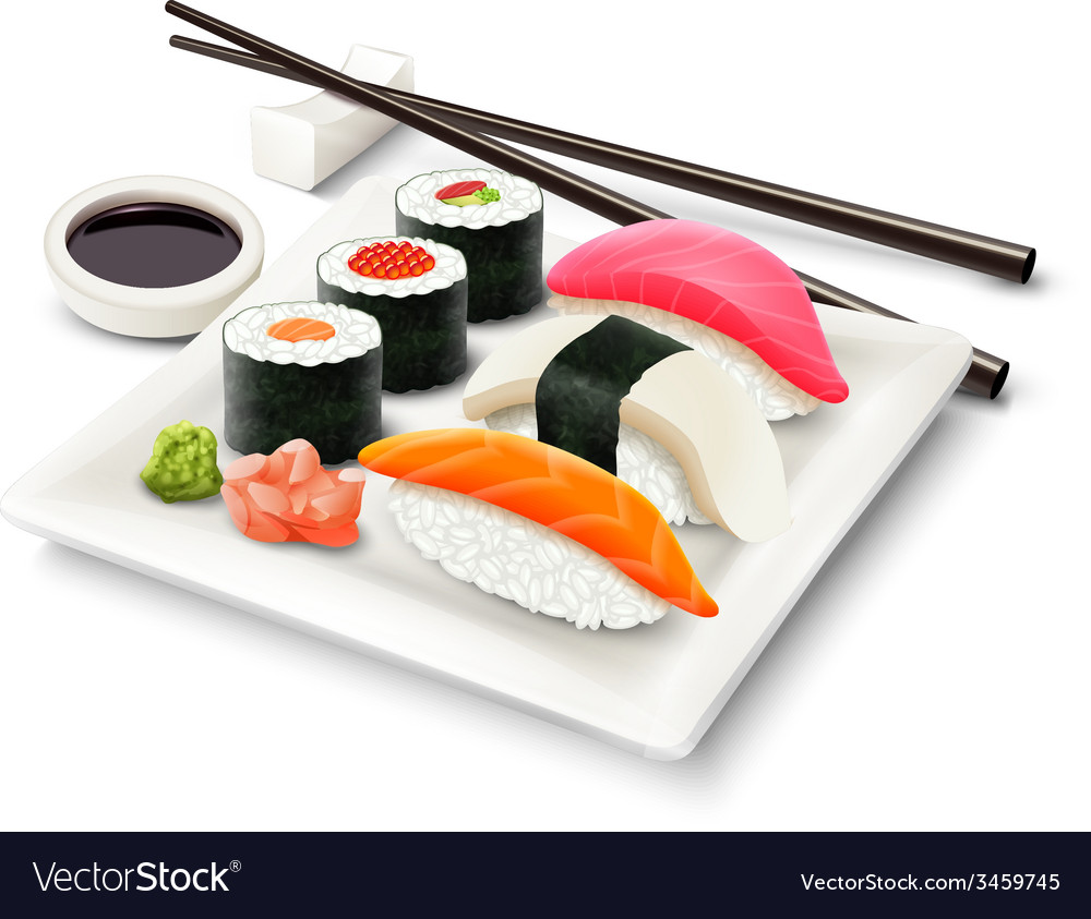 Sushi realistic set vector | Price: 1 Credit (USD $1)