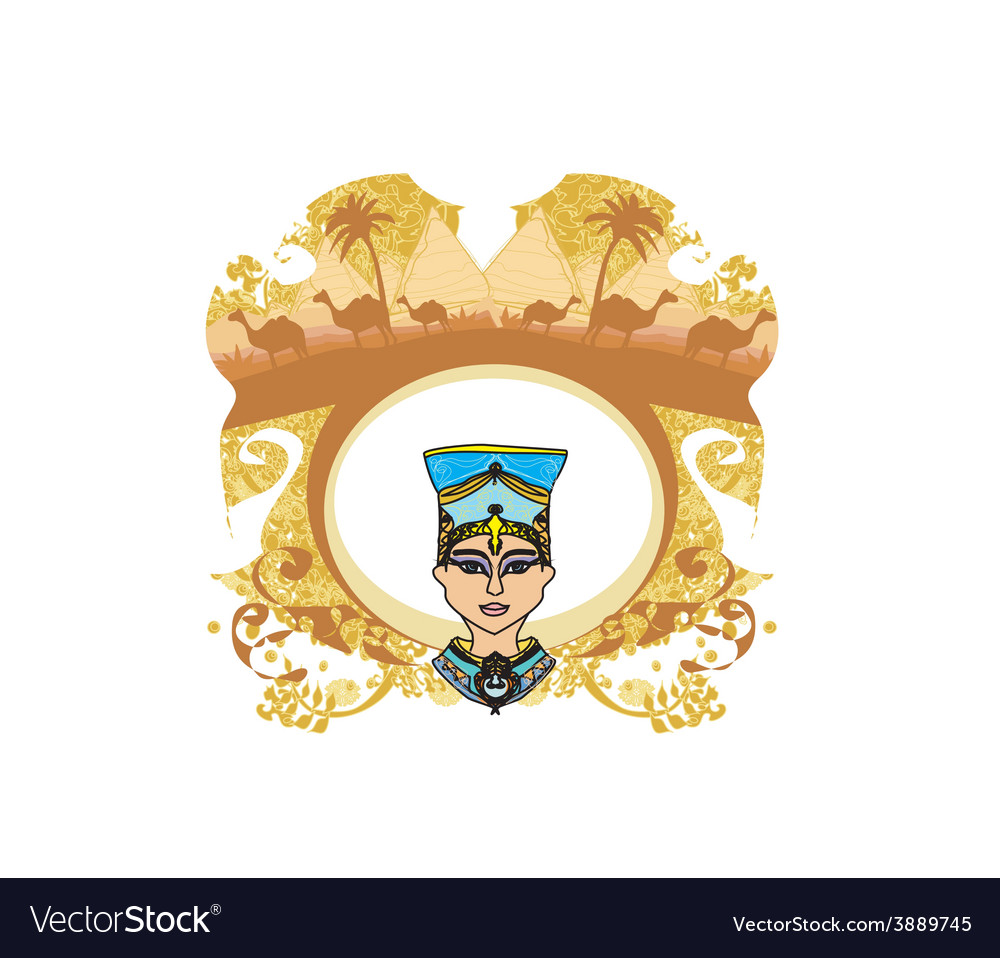 Vintage frame with egyptian queen vector | Price: 1 Credit (USD $1)