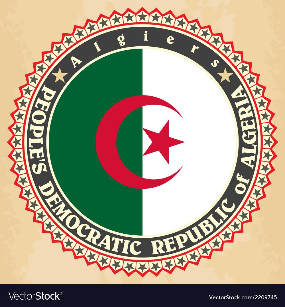 Vintage label cards of algeria flag vector | Price: 1 Credit (USD $1)